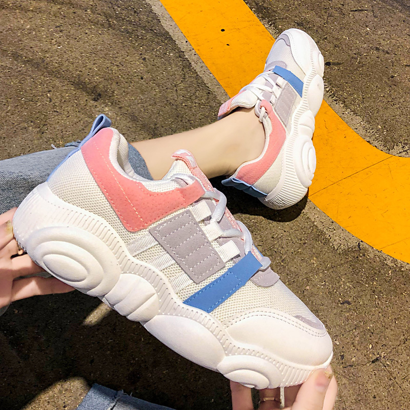 Women Chunky Sneakers Fashion Platform Trainers Tenis Female 2020 Designer Mixed Colors Casual Shoes Woman Lace Up Old Dad Shoes