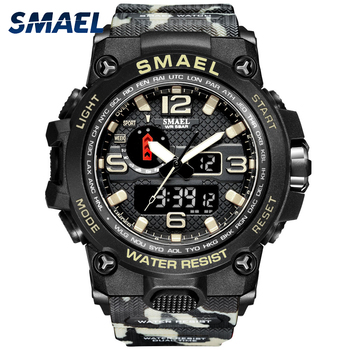 strong Import List strong SMAEL zegarki dla mężczyzn 50M wodoodporny zegar Alarm reloj hombre 1545D podwójny wyświetlacz zegarek kwarcowy zegarek wojskowy Sport nowy 2020 tanie i dobre opinie 22cm QUARTZ Podwójne wyświetlanie Cyfrowy 5Bar Sprzączka CN (pochodzenie) Z tworzywa sztucznego 18mm Akrylowe Kwarcowe zegarki
