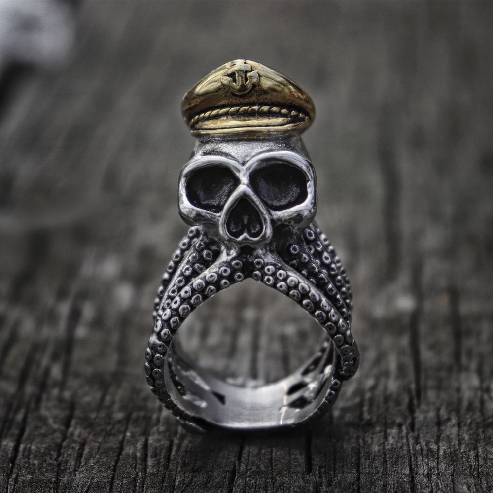 Unique Octopus Tentacle Captain Skull Biker Rings Mens Navy Military Stainless Steel Ring Punk Rock Jewelry in Rings from Jewelry Accessories