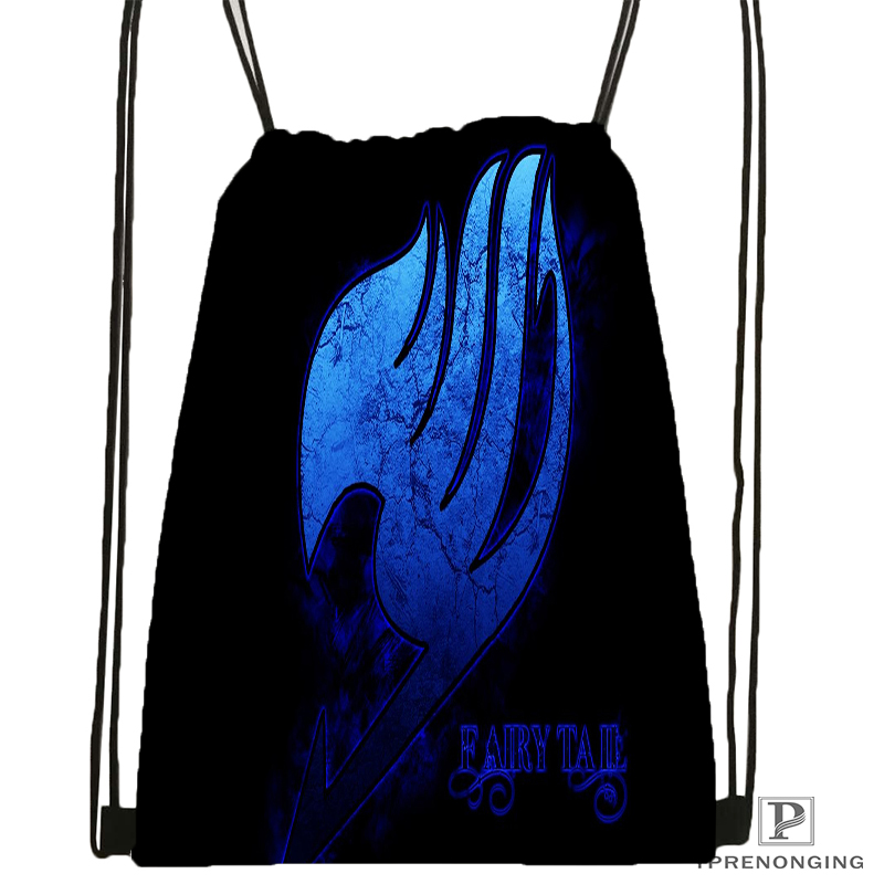 Custom Fairy Tail Logo Spirit Lucy Drawstring Backpack Bag Cute Daypack Kids Satchel (Black Back) 31x40cm#180531-04-21