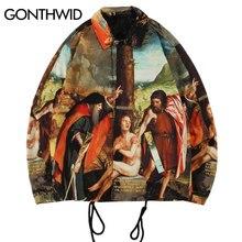 GONTHWID Allegoria del Vecchio e Nuovo Testamenti Pittura Stampa Giacca A Vento Allenatori Giubbotti Streetwear Hip Hop Casual Cappotti