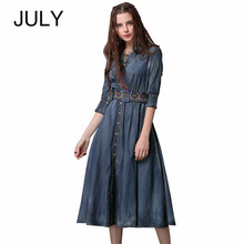 Autumn Dress 2019 New Denim Women Dresses V-Neck Three Quarter Sleeve A-line Swing Hem Belted belt embroidery Dress Vestidos