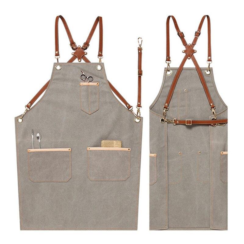 Джинсовый брезентовый фартук с перекрещивающимися кожаными ремешками Парикмахерская флористическая рабочая одежда бармен барбекю Бейкер