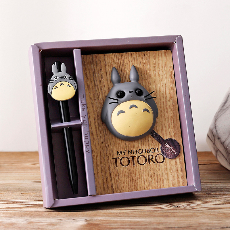 2020 New Listing Creative Cartoon Anime Cute Doll Miyazaki Totoro Wooden Notepad Notebook Diary Hand Account Birthday Gift