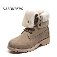 купить NASONBERG Women Snow Boots Flat Lace Up Winter Plus Size Platform Ladies Warm Shoes Flock Fur Women's Suede Ankle Boots Female по цене 1452.43 рублей