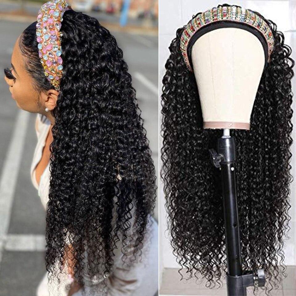 Headband Wig Human Hair Kinky Curly Headband Wig Remy Human Hair Scarf Wig Glueless Curly Wig Headband For Women Brazilian 150%