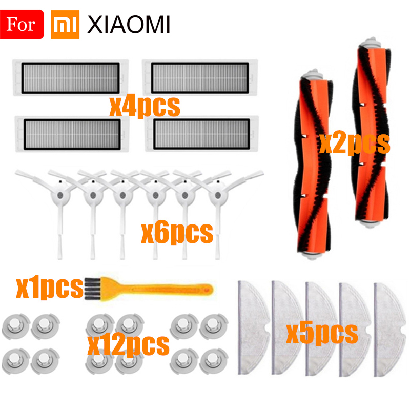 For Xiaomi Roborock S50 Vacuum Cleaner Parts Side Brush+HEPA Filter+Main Brush+Water Tank Filter+Mop Cloths Roborock Accessories