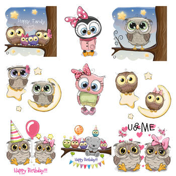 Iron on Cartoon Cute Owl Patches for Clothing DIY T-shirt Applique Heat Transfers Vinyl Stickers for Clothes Thermal Press G diy custom brand logo patches for clothes iron on transfers for t shirt heat transfer vinyl sticker thermal transfers applique