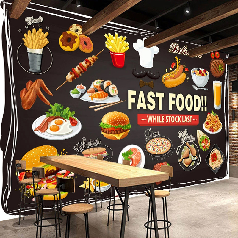 Custom Photo Wallpaper For Walls Roll 3D Fast Food Restaurant Burger Pizza Shop Decoration Mural Waterproof Canvas Painting Wall