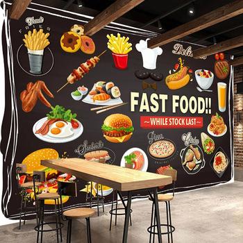 Niestandardowe fototapety do ścian rolka 3D restauracja fast food Burger Pizza dekoracja sklepu Mural wodoodporne płótno malowanie ścian tanie i dobre opinie jiadou NONE CN (pochodzenie) USD rolka Tapeta z włókna drzewnego PRINTED Nowoczesne Tapety materiałowe Włókniny Do pokoju starszyzny