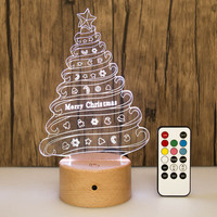 New Style Creative 3D Night Lamp Building Blocks Base Touch Acrylic LED Solid Wood USB Light Gift Customization