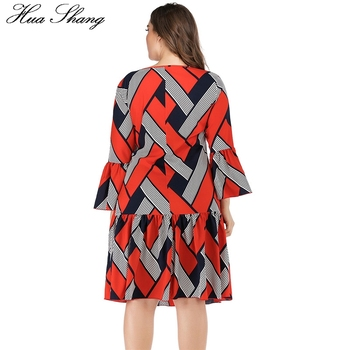 5XL Plus Size Casual Dress Women Long Sleeve Plaid Striped Print Patchwork Midi Dress Red Ladies Tunic Ruffles Beach Dresses 5