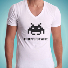 T-Shirt Cou V Space Invaders Vintage Videogame No Happiness No My T-Shirt Cotton Short Sleeve Tee Shirt