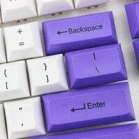 87 DSA Top Printed White Purple Keycaps Dye Sub Pbt Razer Gh60 Poker2 Xd64 87 104 Xd75 Xd96 Xd84 K70 Cherry Mechanical Keyboard (5)