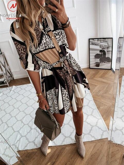 Fashion Women Spring Autumn Thin Dress Bandage Design Button Decor Turn-down Collar Long Sleeve Leopard Print Slim Mini Dress 5