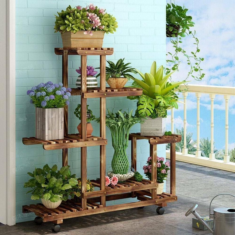 Yonntech Multi Tier Flower Plant Holder Stand Rack Wood Shelves Balcony Flower Rack Plant Stand Garden Bonsai Display Shelf