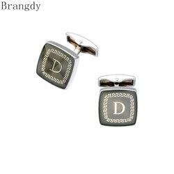 Brangdy high quality French shirt sleeves men's cufflinks brand designer letter series square golden D cufflinks