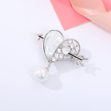 Heart Shape Rhinestone Zircon Brooches For Women Shiny Cupid Arrow Love Brooch Pin Best Gift For Her Pearl Pins Jewelry Clothes chic faux pearl rhinestone number shape brooch for women