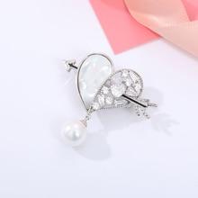 Heart Shape Rhinestone Zircon Brooches For Women Shiny Cupid Arrow Love Brooch Pin Best Gift For Her Pearl Pins Jewelry Clothes rhinestone insert ladybird shape brooch