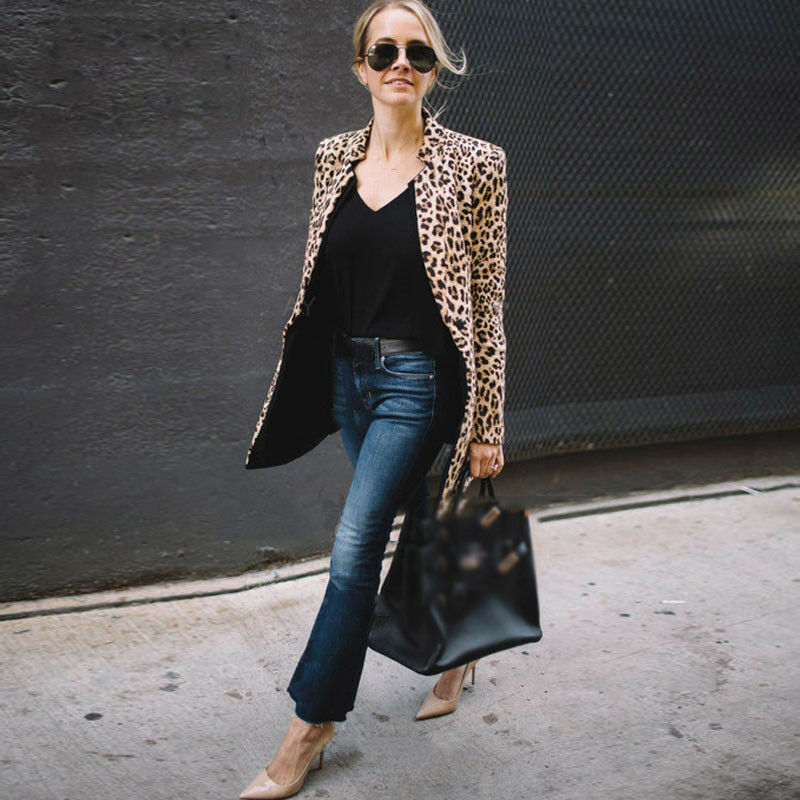 Leopard Animal Print Jackets Fashion Vintage Long Sleeve Autumn Spring Coats Fashion Outwear Slim OL Casual Female 2019 Hot Sale