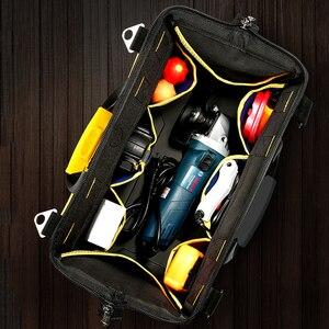 Image 4 - Alet çantası taşınabilir elektrikçi çantası çok fonksiyonlu onarım kurulum tuval büyük kalınlaşmak alet çantası iş cep