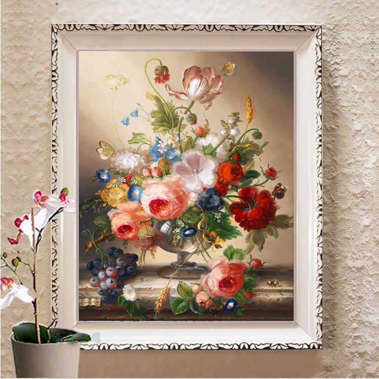 52*63 سنتيمتر الإبرة ، DIY بها بنفسك الزهور غرفة المعيشة المطبوعة عبر الابره مجموعات ل طقم تطريز كامل عبر خياطة الحرير الموضوع