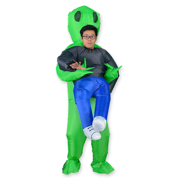 Alien Mascot Costume Green Alien Carrying Human Adult Inflatable Costume Anime Cosplay For Man Women Halloween Costume movie quality costume 3d printed kids adult spandex superhero man costume for halloween mascot cosplay