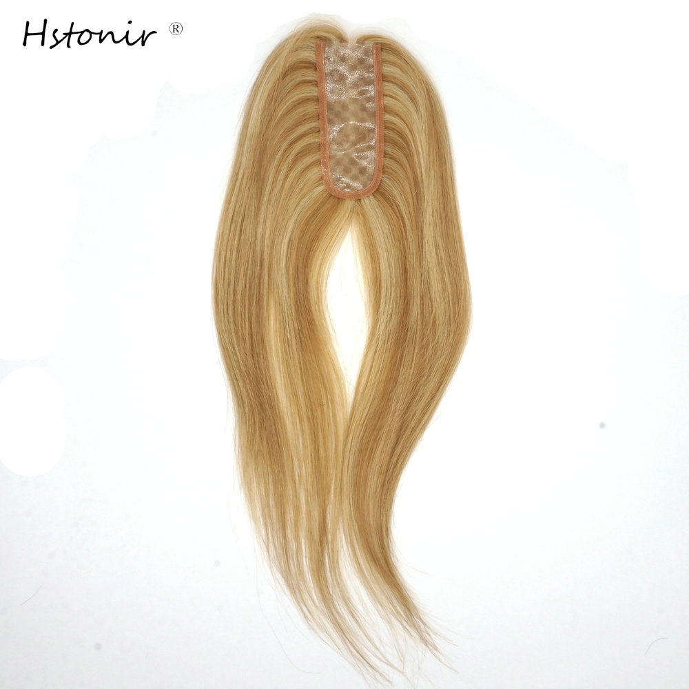 Hstonir Human Pure Hair Piece Thin Skin One Piece Hair Toupee For Women Hair Extension Topper European Remy Hair TP35