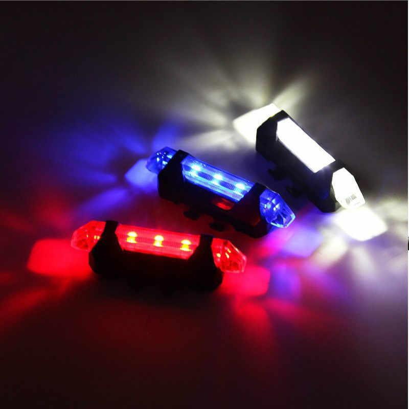 Sepeda Lampu Sepeda LED Lampu Belakang Belakang Ekor Peringatan Bersepeda Portabel Ringan Gaya USB Isi Ulang atau Baterai Gaya