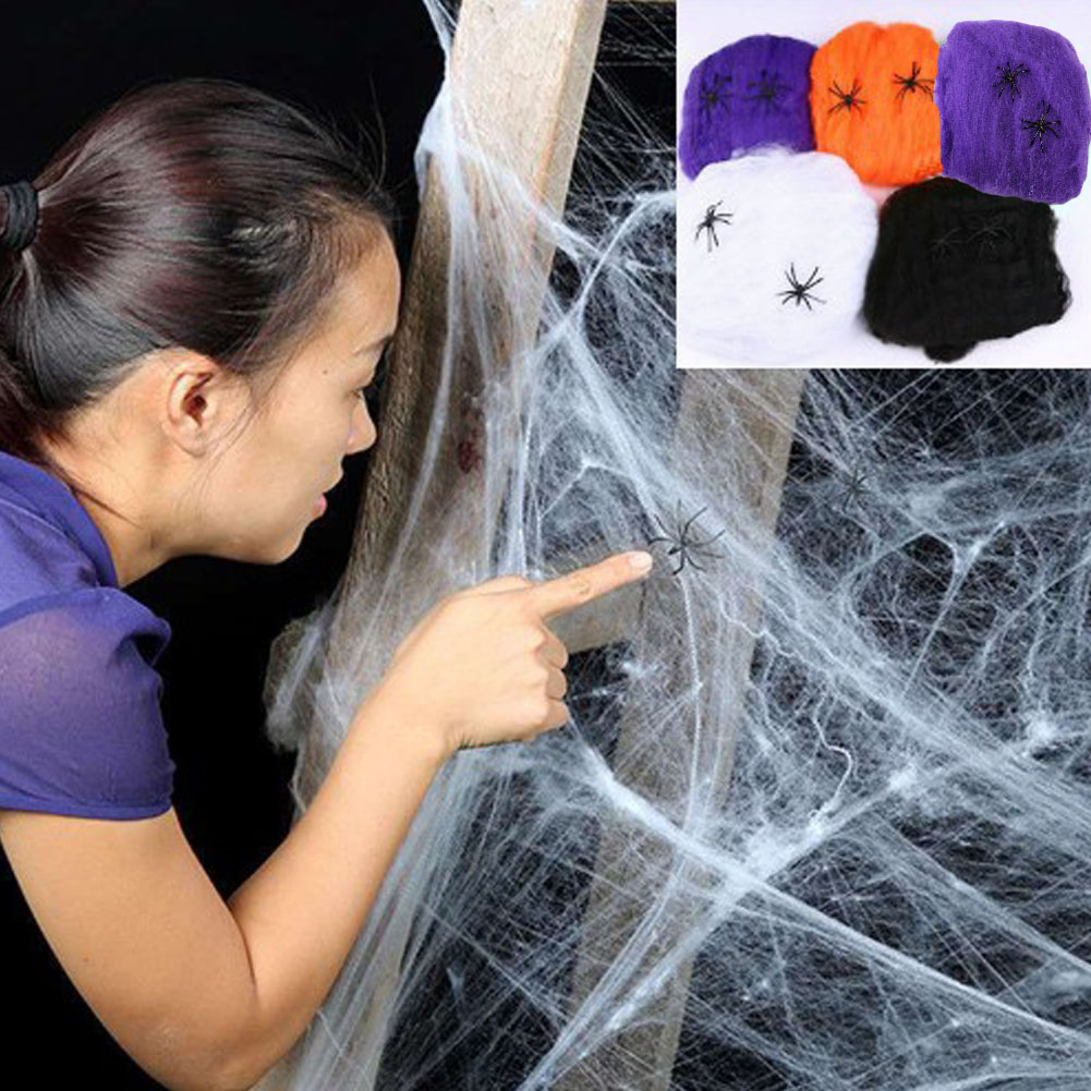 Hot Sold Scary Party Scene Props White Stretchy Cobweb Stretchy Spider Web Horror Halloween Decoration For Bar Haunted House