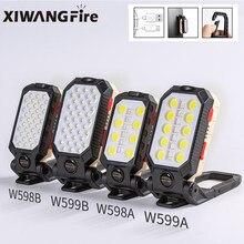 Xiwangfire recarregável forte luz de trabalho magnético led cob portátil dobrável lanterna acampamento à prova dwaterproof água com exibição energia