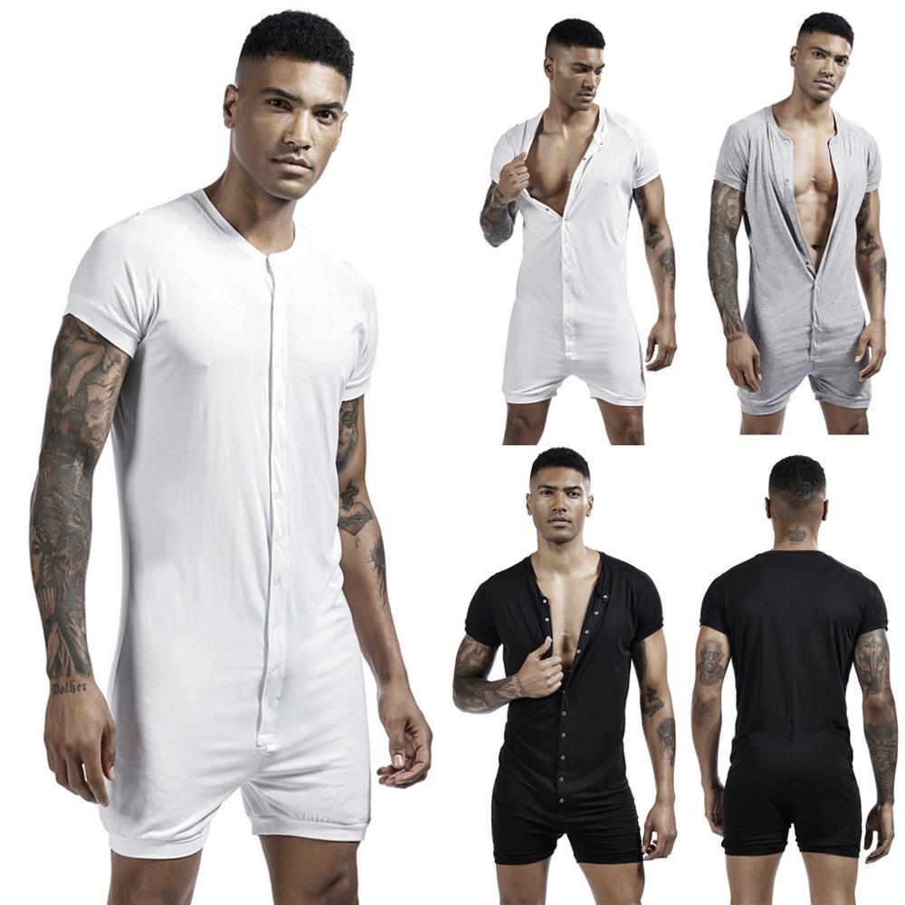 Men's Fashion New Style Sleepwear Sexy Short Sleeve Open Front Bodysuit Pure Color Button Casual Onesies Men 2019 Hot Sale