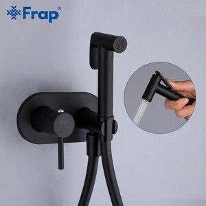 Image 1 - Frap matowy czarny do bidetu i prysznica kran z mosiądzu bateria bidetowa muzułmanin Ducha Higienica Mixer Tap baterie toaletowe Y50060/1