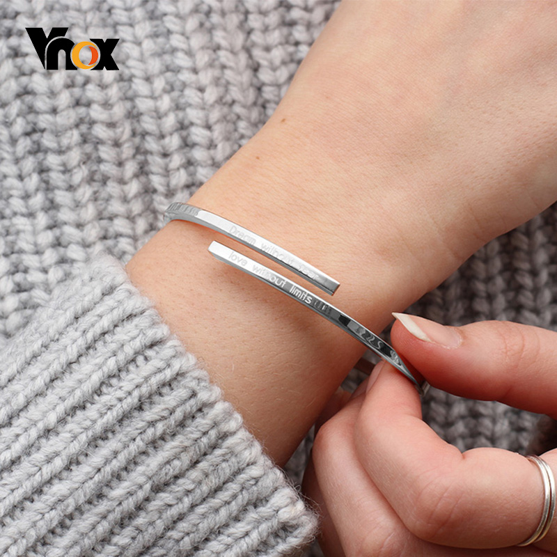 Vnox Adjustable New Disign Bangle Personalize Engrave Name Cuff Bracelets For Women Stainless Steel Custom BFF Gift