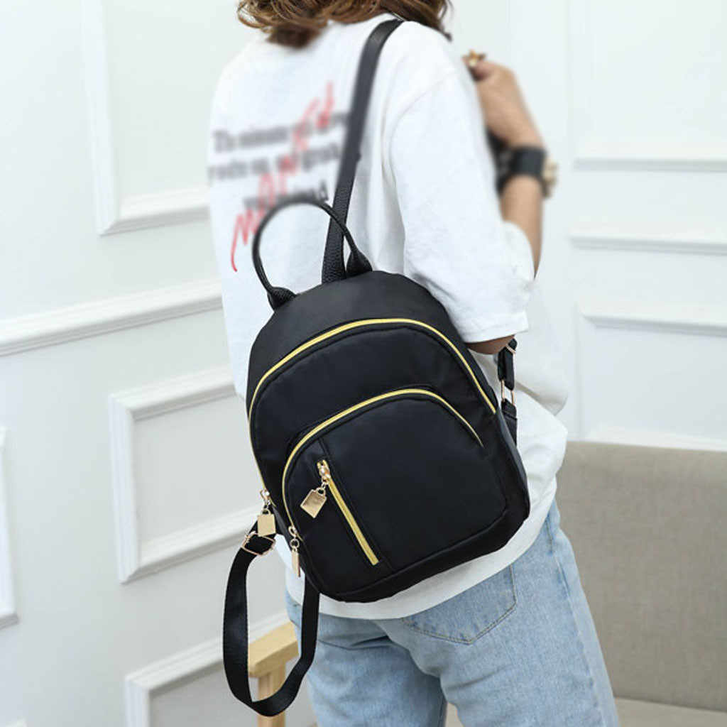 Women's Solid Color Backpack Multi-Function Shoulder Bag Casual Backpack Oxford Material Hollow Out Decoration Feminina#25
