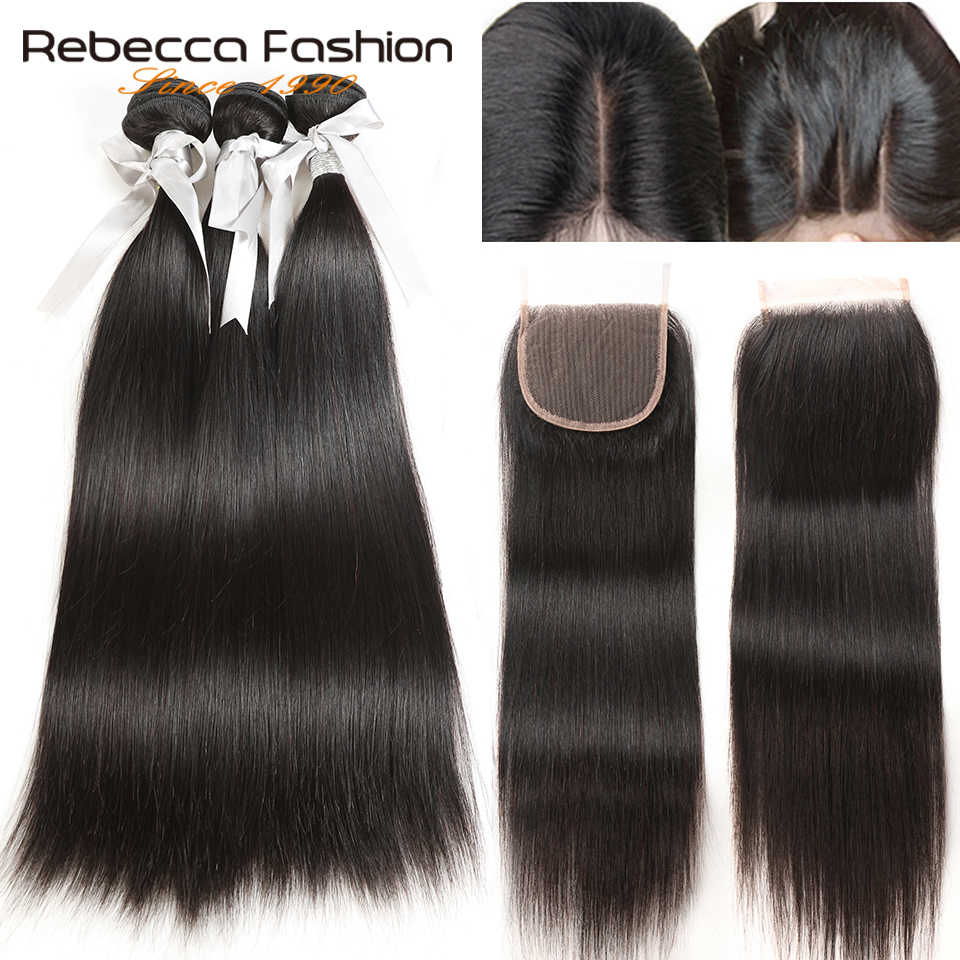 Rebecca Human Hair Bundles With Closure 3 Bundles With Closure Remy Hair Extension Peruvian Straight Hair Bundles With Closure