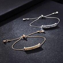 Fashion Crystal Pave Bar Slider Bracelet Women's Elegant Adjustable Drawstring Tightening Jewelry