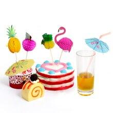 10 шт., украшения для коктейлей, гирлянды, зонтик, бамбуковая палочка, летние тропические Луау, вечерние, Гавайские, пляжные, с фламинго, вечерние, Декор