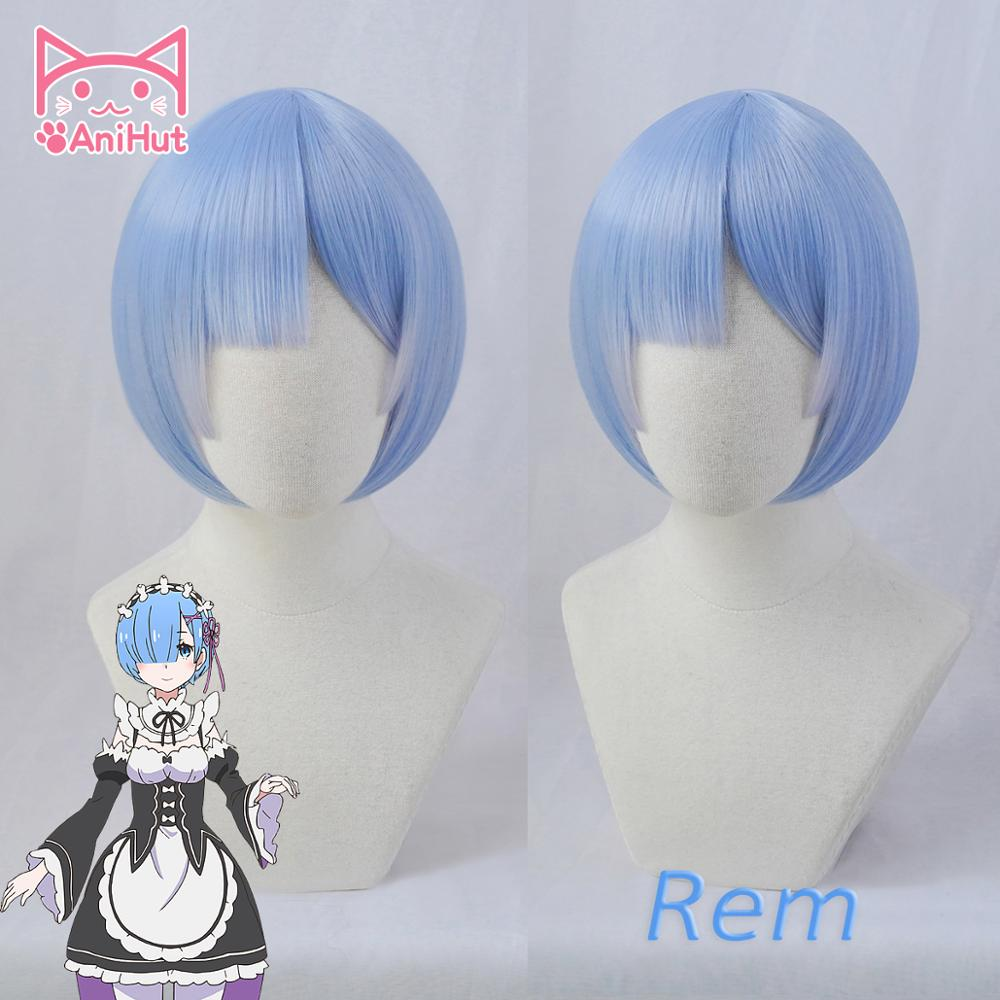 【AniHut】REM Wig Anime Re:Zero Starting Life In Another World Heat Resistant Synthetic Blue Cosplay Hair REM Wig