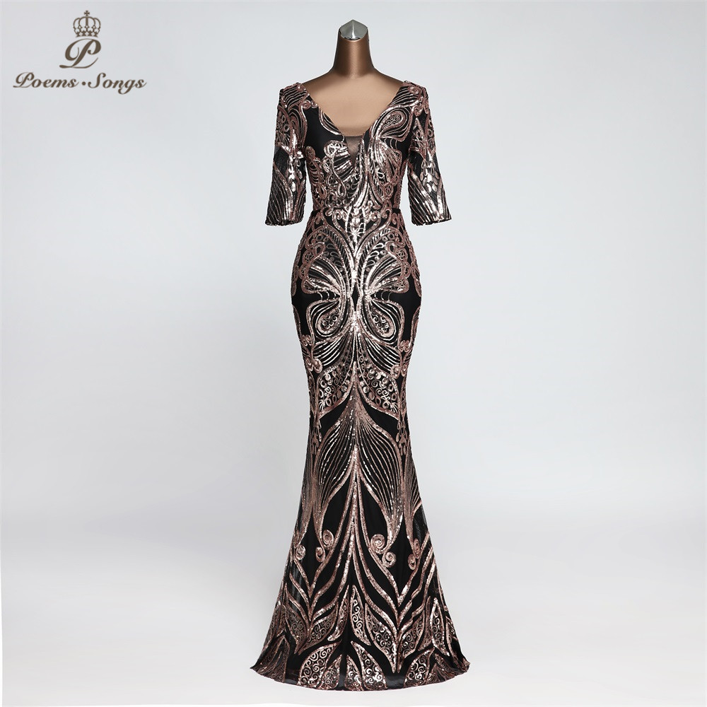 Butterfly Style  Evening Dress Half Sleeve Vestidos Elegantes Memaid Beautiful Evening Gown Unique Robe De Soiree