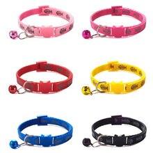 Collar ajustable de gato con estampado de espina de pescado, Collar de nailon para cachorro, perro, gatito, gato con campanas, 19-32cm, 1,0 cm, envío rápido
