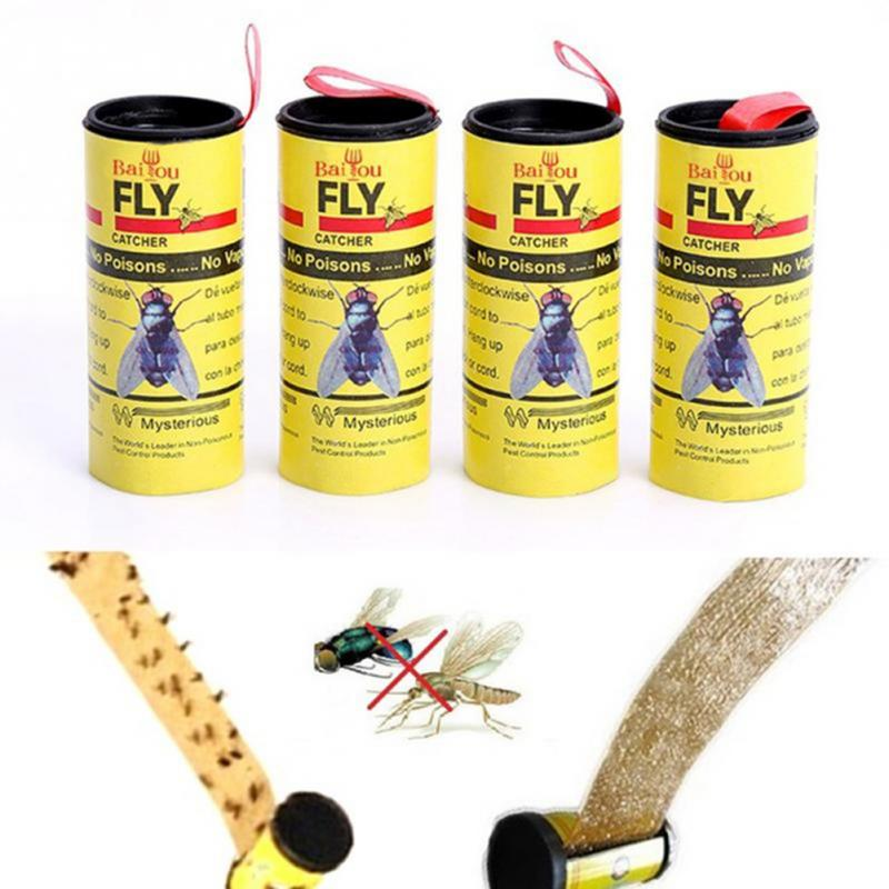 High Quality 4 Flies Sticky Paper Mosquito Killer Flycatcher Control Insect Fly Catcher Sticky Flypaper Glue Ribbon Random Color