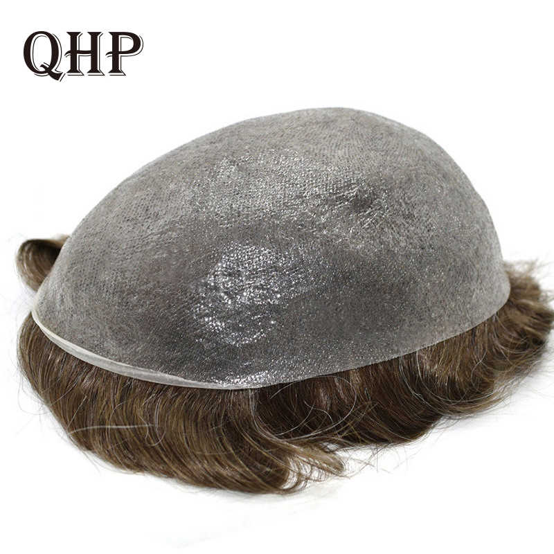 Piel fina 0,08-0,1mm Mens tupé 8x10 pulgadas sistemas de repuesto de cabello peluca artesanal pura 100% cabello humano Natural Remy para hombres