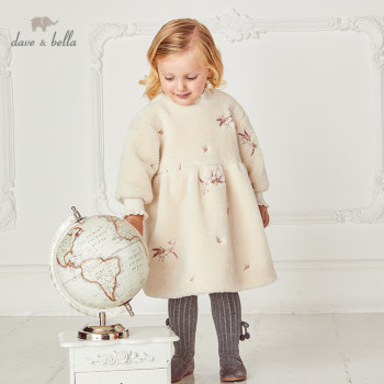 DB15852 dave bella winter baby girl's floral printing dress children fashion party dress children fashion dress image