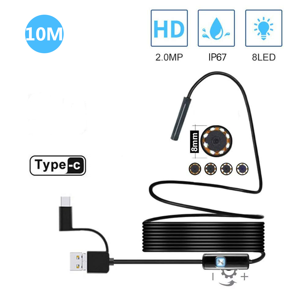 10M Semi-rigid USB Endoscope 2MP 1200P Borescope Inspection Camera For Android Smartphone Type-c PC Waterproof Snake Camera