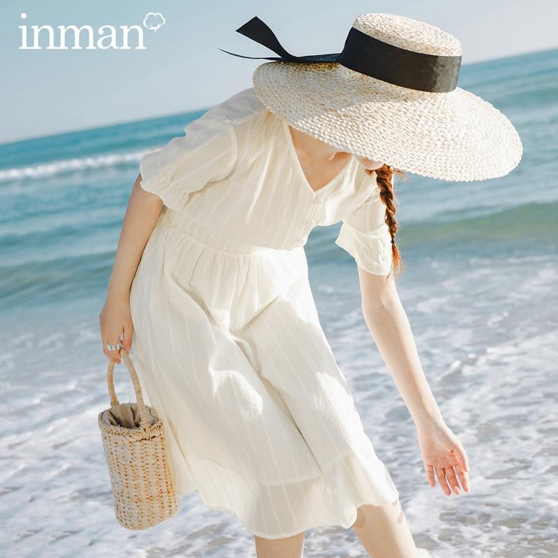 INMAN 2020 Summer New Arriavl V-neck Short Sleeve Nipped Waist Slimmed Dress
