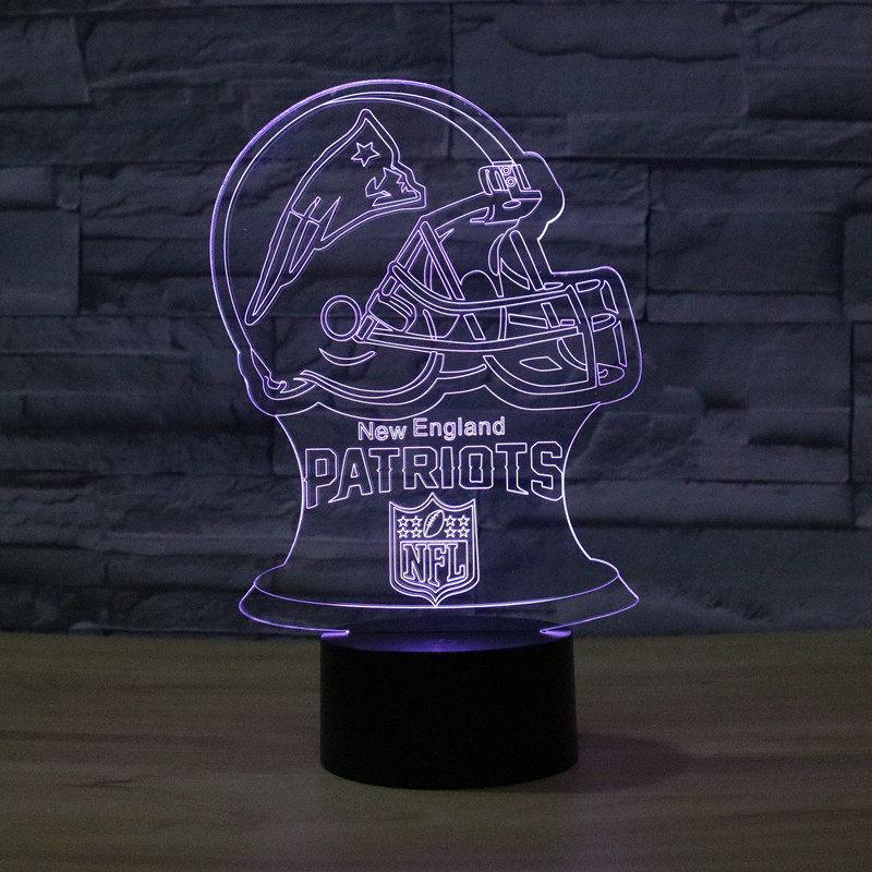 2019 New Style New England Patriots Football Helmet 2 Colorful Touch Control LED Visual Lamp
