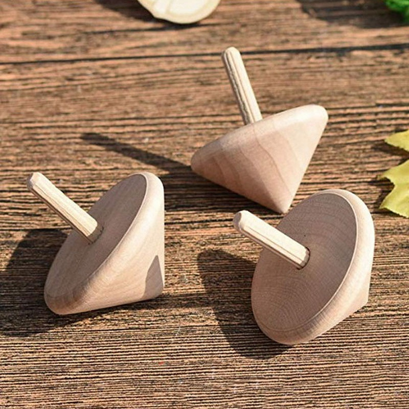 Wooden Spinning Top Toys Solid Wooden Gyro Wood Spin Up Toy Wooden Toys For Party Favors Kindergarten Toys(12 Pcs)