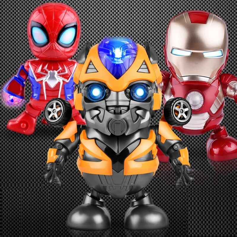 Zhenwei Dancing Robot Iron Man, Bumblebee, Electric Walking Lighting Music Kids Dancing Hero Toy Boy Girl Toy