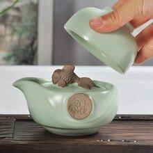 Чайный набор включает в себя 1 горшок 1 чашка RuYao Geyao рыба дракон Кунг-фу чайная чашка горшок Quick чашки открывающийся кусок чайный набор Ru печной фарфор
